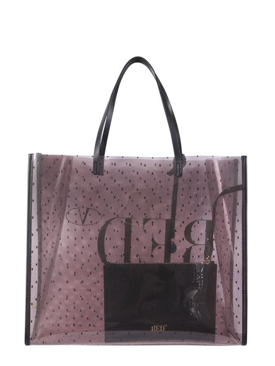 Red Valentino Tote Bag With Logo Print In Pink