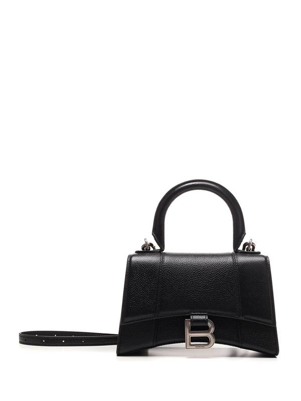 Balenciaga Hourglass Xs Top Handle Bag In Black