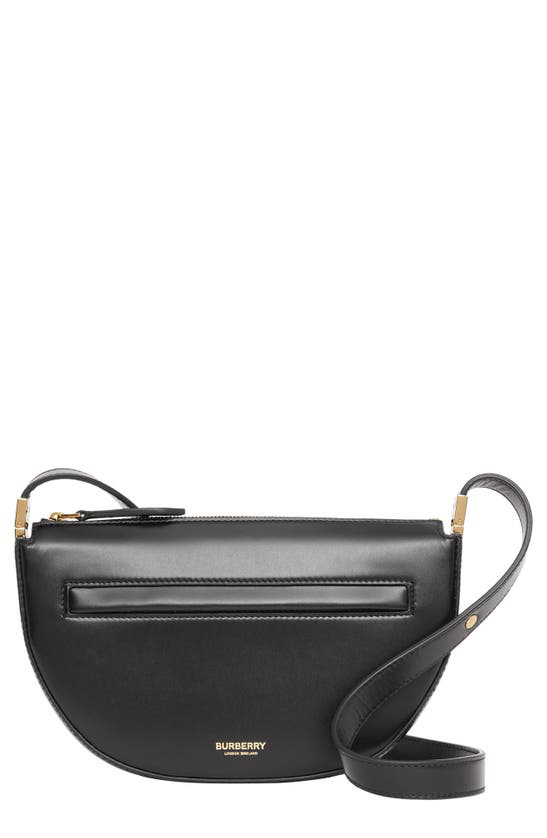 Burberry Olympia Mini Zip Leather Shoulder Bag In Black