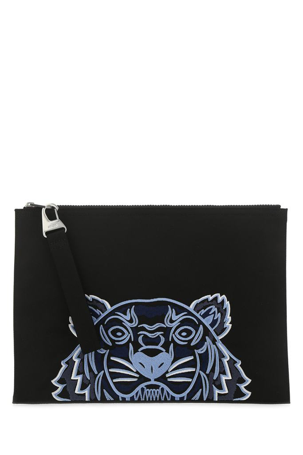 Kenzo Kampus Tiger Embroidered Pouch In Black
