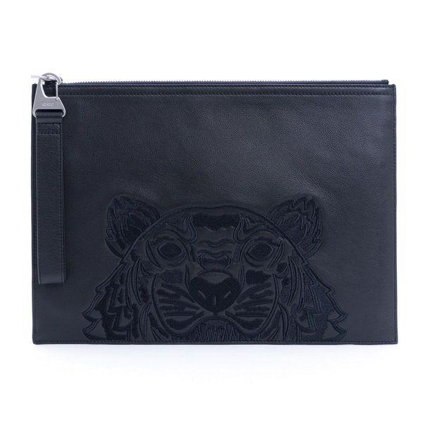Kenzo Men's Fa65pm322l4999 Black Leather Pouch