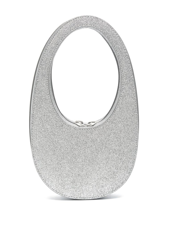 Coperni Swipe Mini Glitter Tote Bag In Gray
