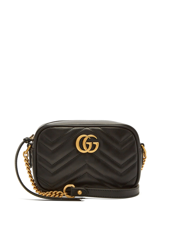 Gucci Gg Marmont Mini Quilted-leather Cross-body Bag In Black
