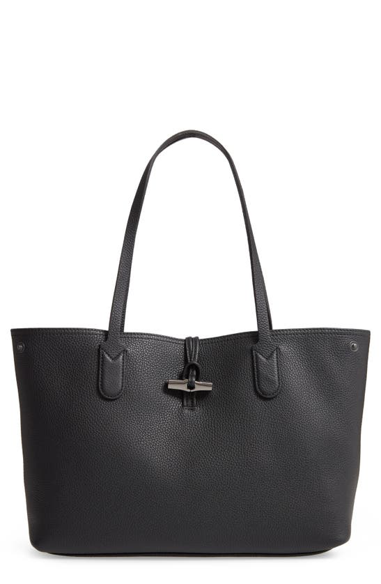 Longchamp Roseau Essential Mid Leather Tote In Black