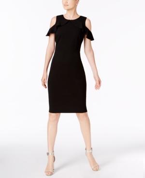 Calvin Klein Cold-shoulder Crepe Sheath Dress In Black