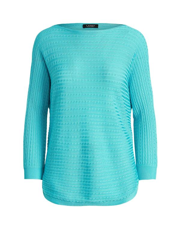 Lauren Ralph Lauren Cable-knit Boatneck Sweater In Sky Blue