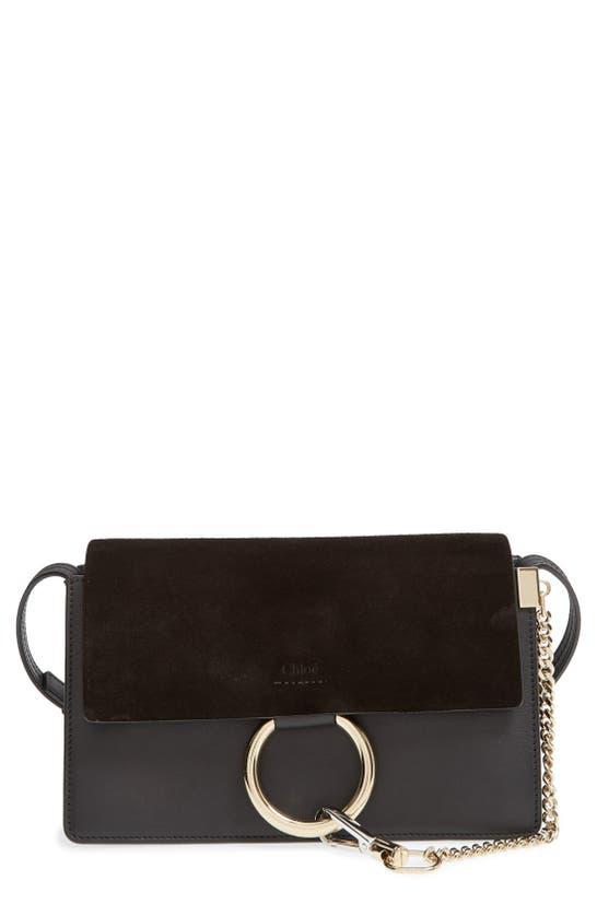 Chloé Small Faye Leather Crossbody Bag In Black
