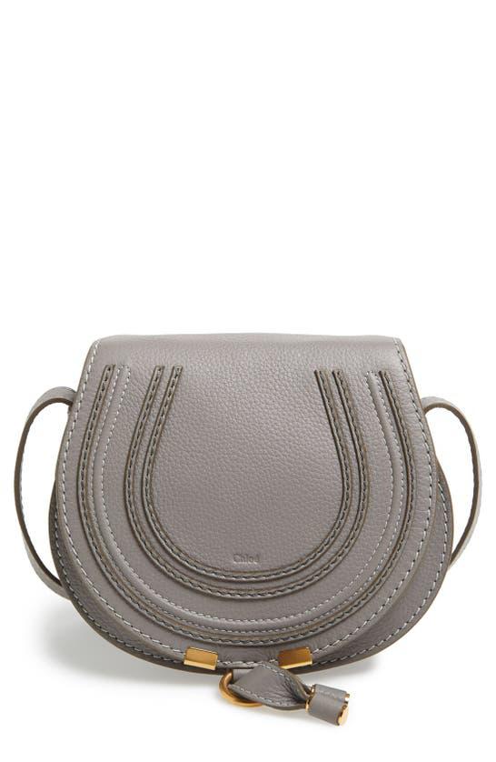 Chloé Mini Marcie Leather Bag In Cashmere Grey