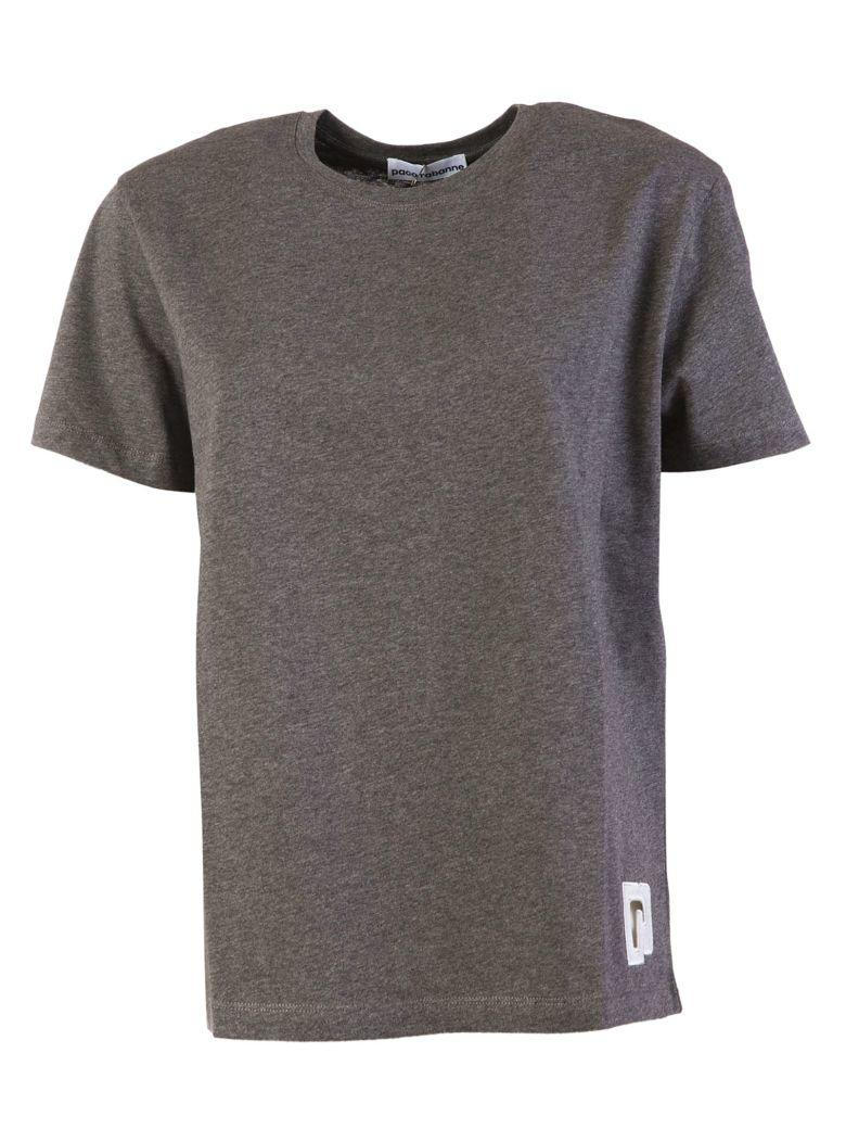 Paco Rabanne Logo Embroidered T-shirt In Grey