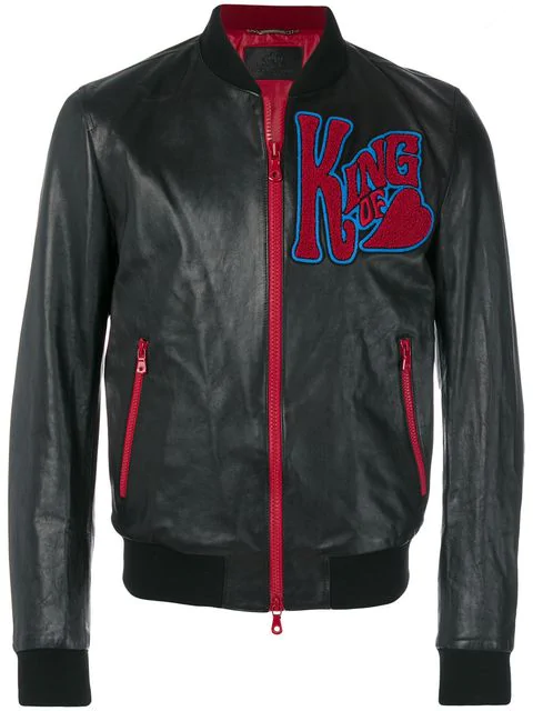Dolce & Gabbana Leather Bomber Jacket With Patches In Black