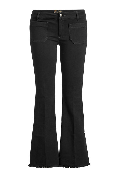Seafarer Cropped Jeans With Fringed Hem In Black