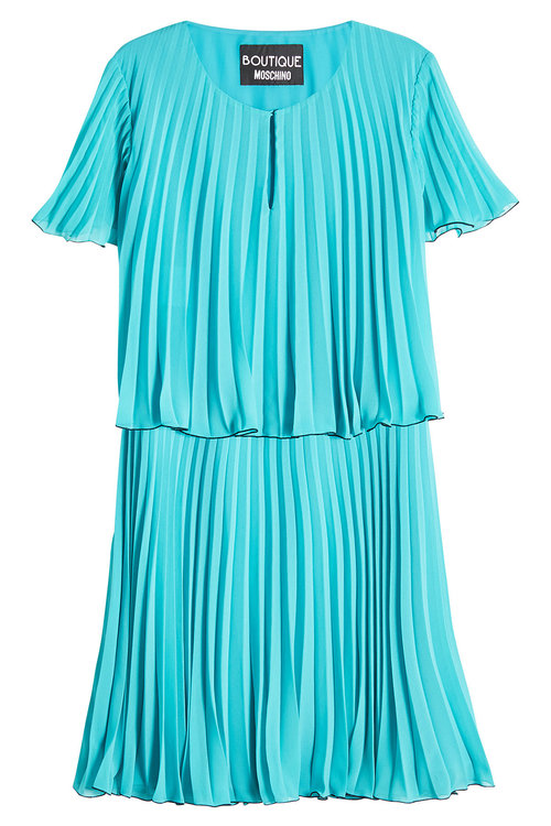 Boutique Moschino Pleated Dress In Teal