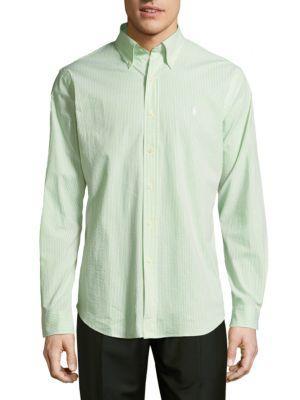 Ralph Lauren Seersucker Casual Button-down Shirt In Green
