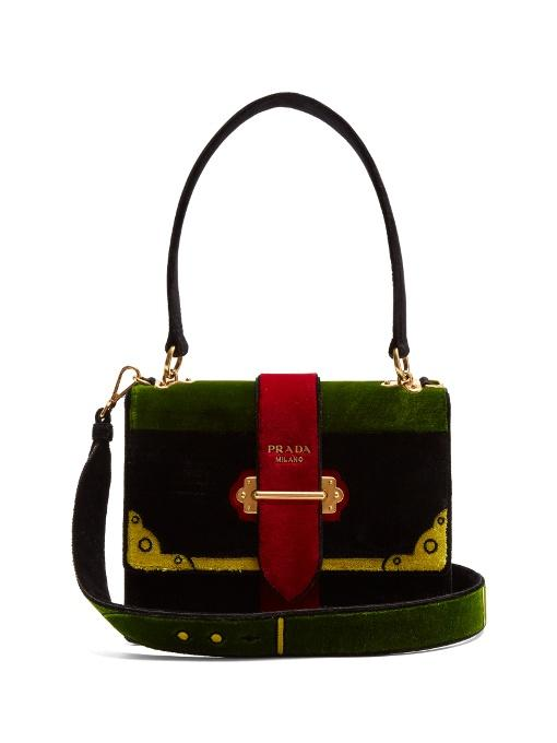bb763f50082a Prada Velvet Handbag With Cahier Embroidery In Black
