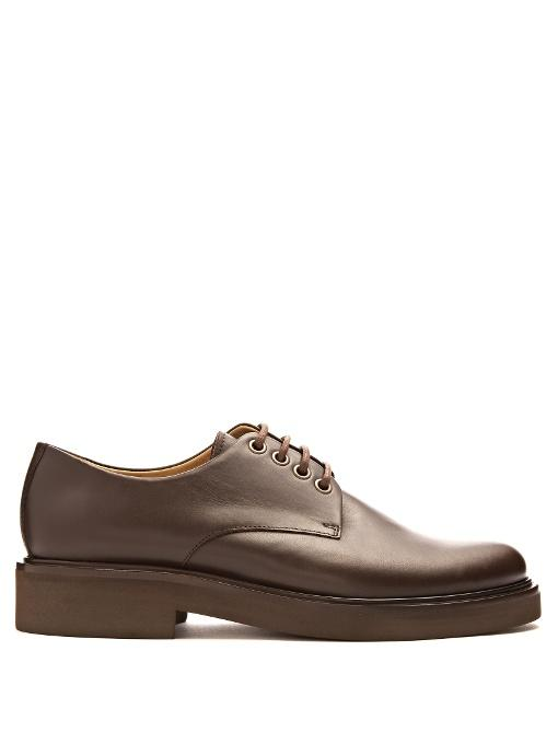 A.p.c. Autumn Leather Derby Shoes In Dark Brown