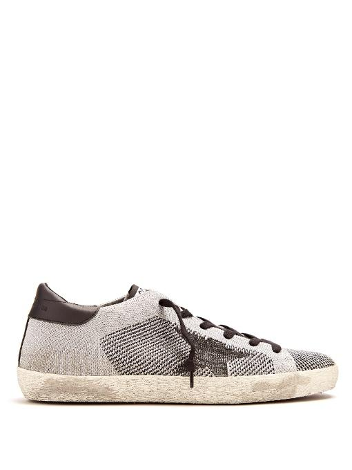 Golden Goose Super Star Low-top Knit Trainers In Black Silver