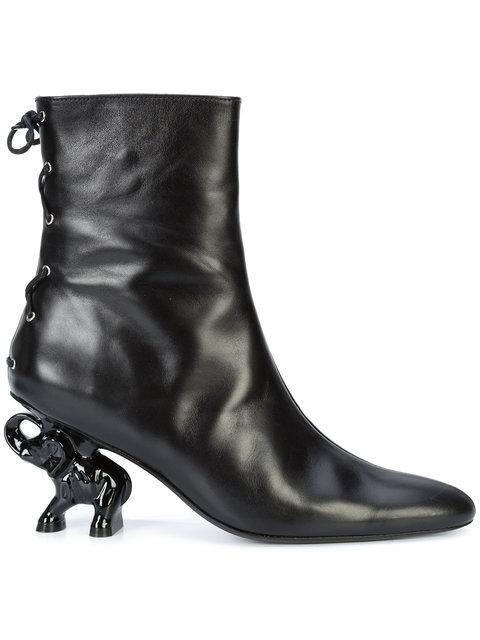 668d4d73d77 Dorateymur Tribal Elephant Heel Leather Ankle Boots In Black