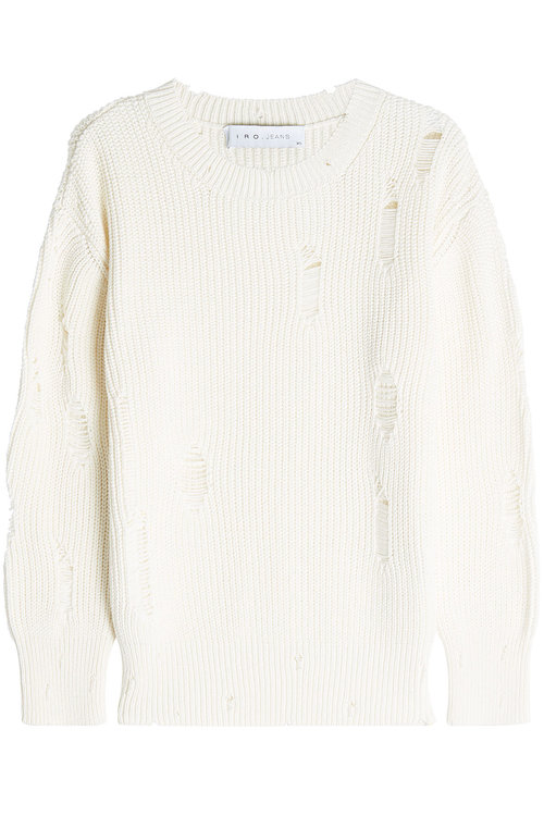 Iro Distressed Cotton Pullover In Beige