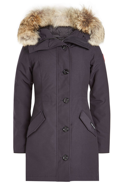 Canada Goose Rossclair Down Parka With Fur-trimmed Hood In Blue