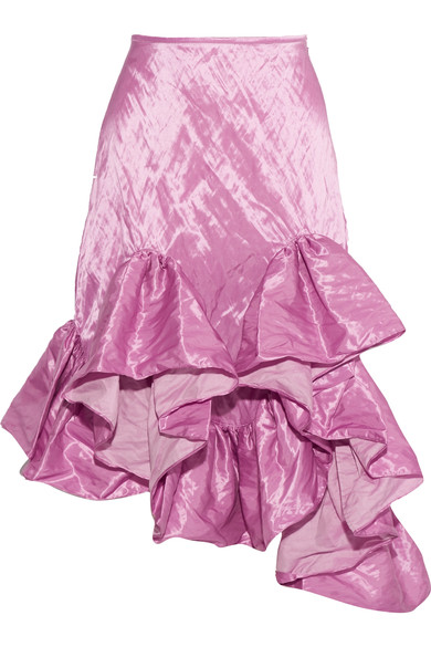 Marques' Almeida Ruffled Asymmetric Skirt With Cotton In Magenta