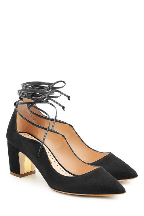 Rupert Sanderson Suede Pumps In Black