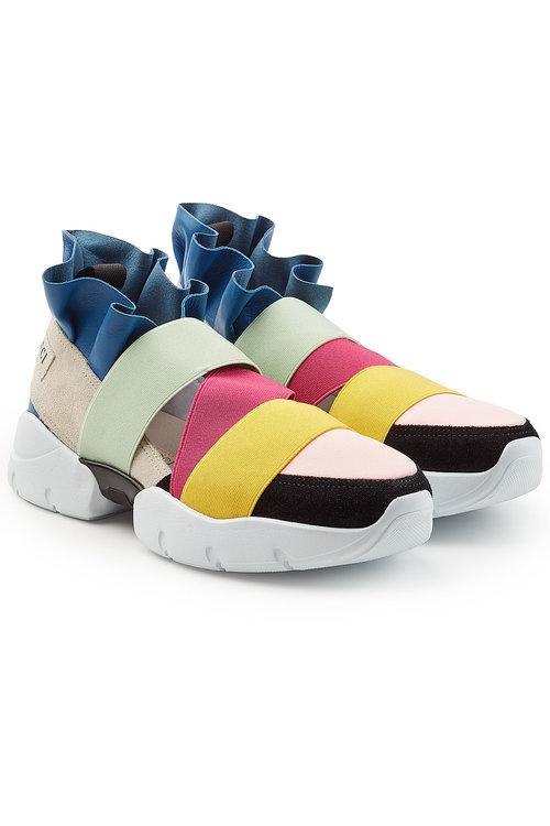 Emilio Pucci Ruffle Sneakers With Suede In Multicolored