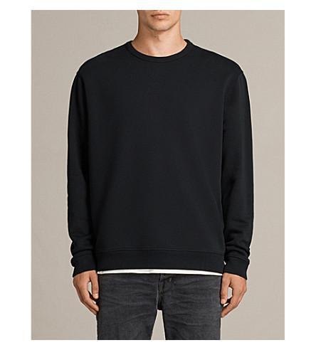 Allsaints Putro Crewneck Cotton-jersey Sweatshirt In Ivory Grey
