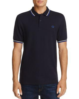 Fred Perry Tipped Pique Slim Fit Polo Shirt In Navy/snow White/pacific