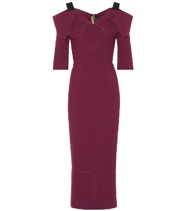 Roland Mouret Tailored Wool Dress With Cut-out Shoulders In Purple