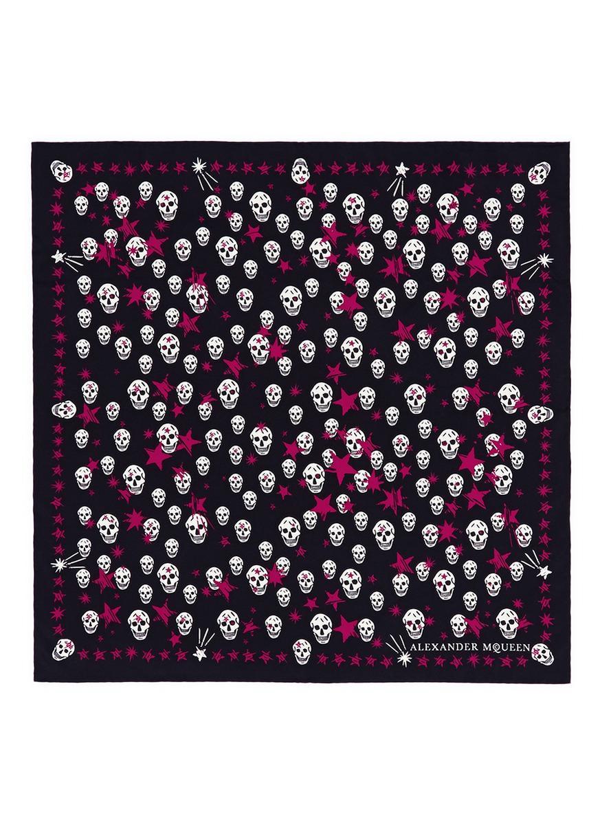 Alexander Mcqueen Starlight Skull Print Silk Twill Scarf