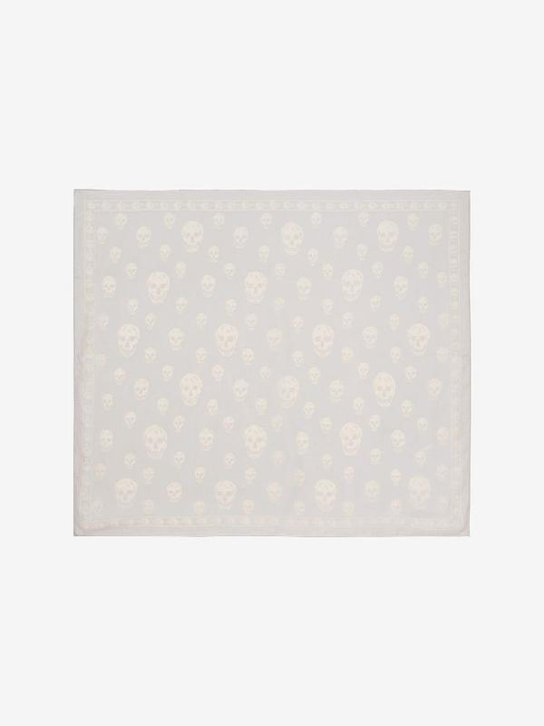 Alexander Mcqueen Classic Silk Chiffon Skull Scarf In Pearl/white