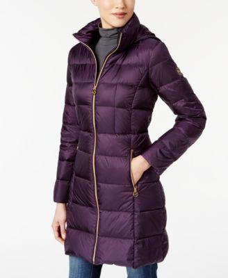749a7df0c96 Michael Kors Michael Plus Size Packable Down Puffer Coat In Purple ...