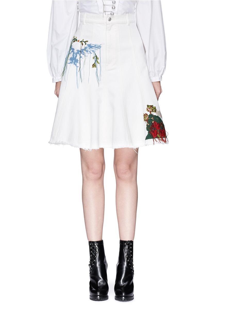 Alexander Mcqueen Cross Stitch Graphic Denim Skirt