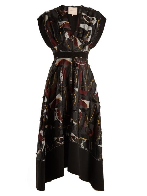 Roksanda Mituva V-neck Fil CoupÉ Dress In Black Multi