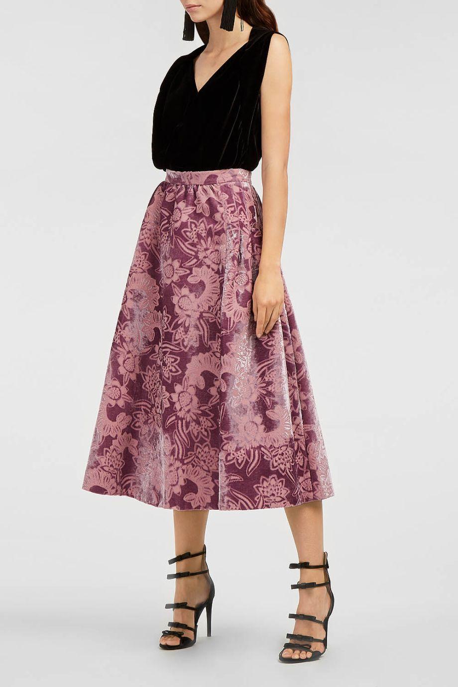 Erdem Teresa Gathered-waist Velvet-devorÉ Midi Skirt In Tonal-pink