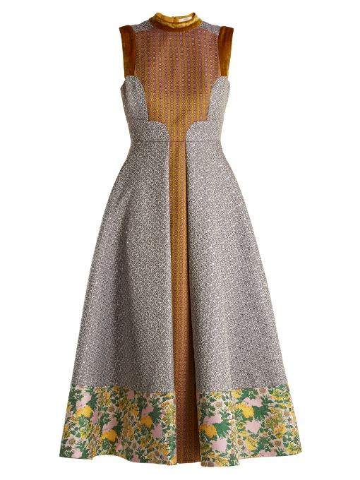 Erdem Gabriella Floral And Geometric-jacquard Dress In Gold Multi