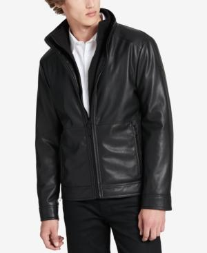 Calvin Klein Men's Faux-leather Open-bottom Jacket, Created For Macy's In Black