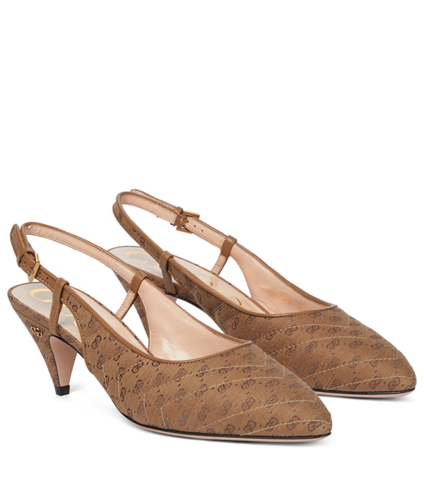 Gucci 55mm Marmont Canvas Slingback Pumps In Beige