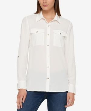 Tommy Hilfiger Utility Shirt, Created For Macy's In Ivory