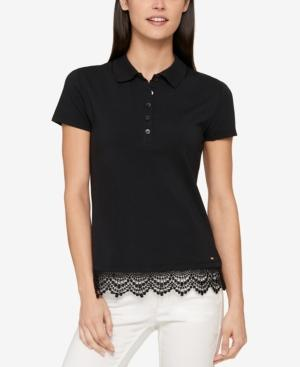 Tommy Hilfiger Lace-trim Polo Top, Created For Macy's In Black
