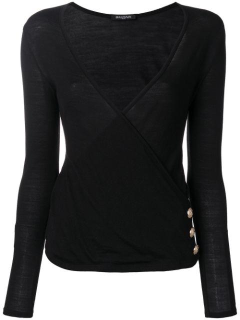 Balmain Deep V-neck Wool-blend Sweater In Black