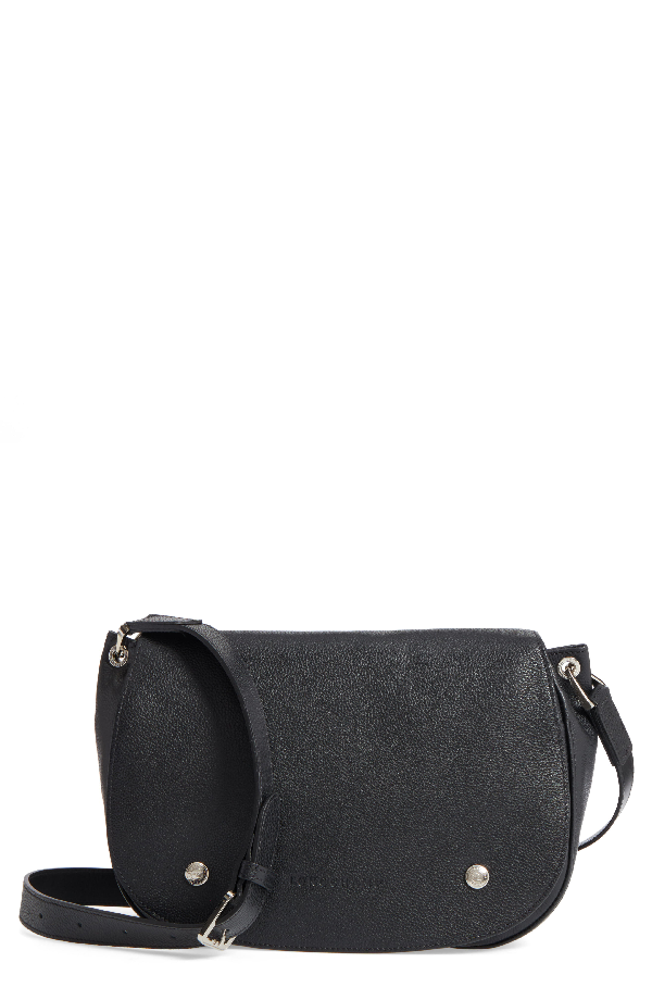 Longchamp Small Le Foulonne Leather Saddle Bag In Black