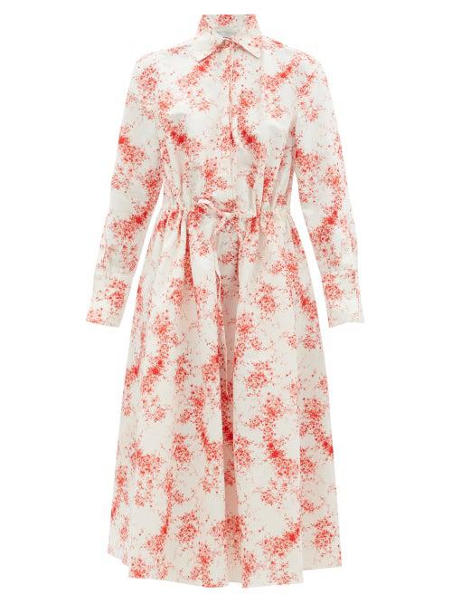 Valentino Drawstring-waist Cotton-blend Faille Dress In Red White