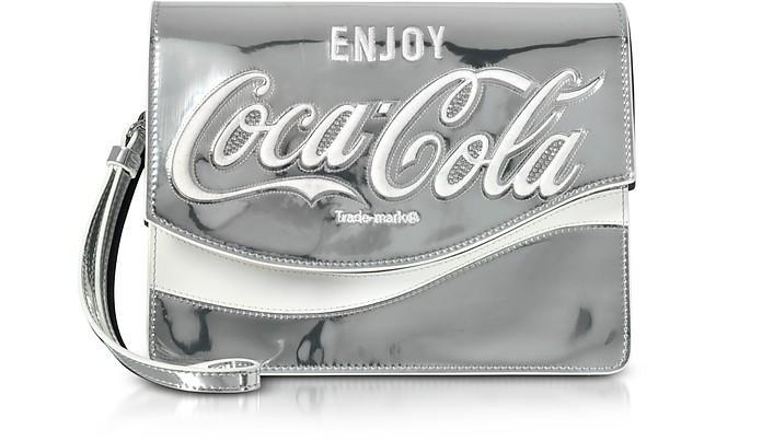 Pinko Solitario Silver Laminated Eco Leather Clutch