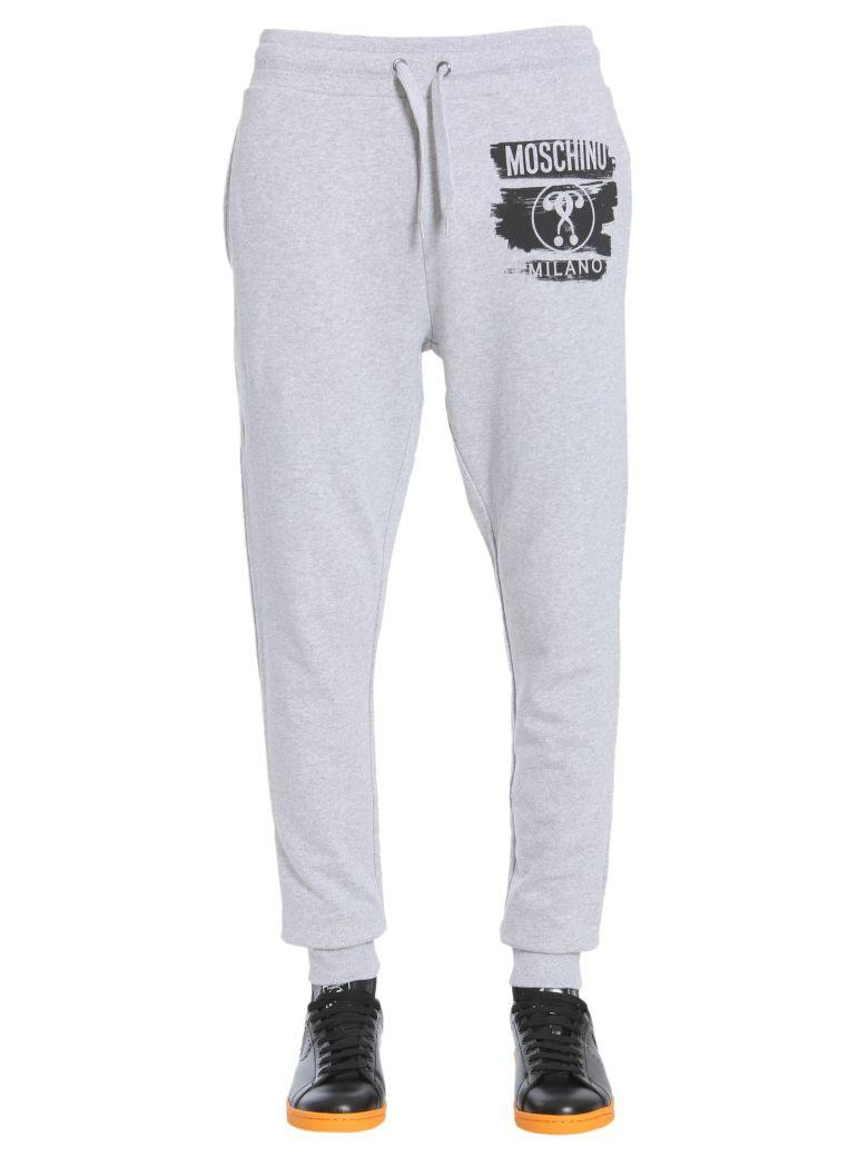Moschino Question Mark Logo Tracksuit Bottoms In Grigio