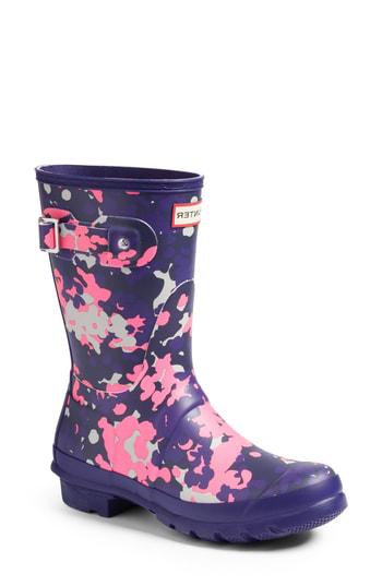 Hunter Women's Original Short Flecktarn Camo Matte Rain Boots In Neptune