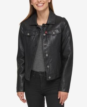Levi's Buffed Cow Faux-leather Jacket In Black