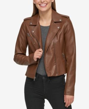Levi's Faux-leather Moto Jacket In Cognac