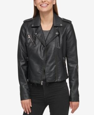 Levi's Faux-leather Moto Jacket In Black