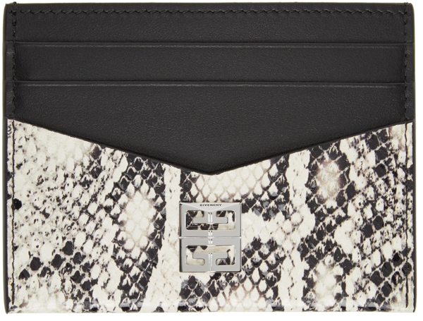 Givenchy Python Print Card Holder Black And White In 004-black/white